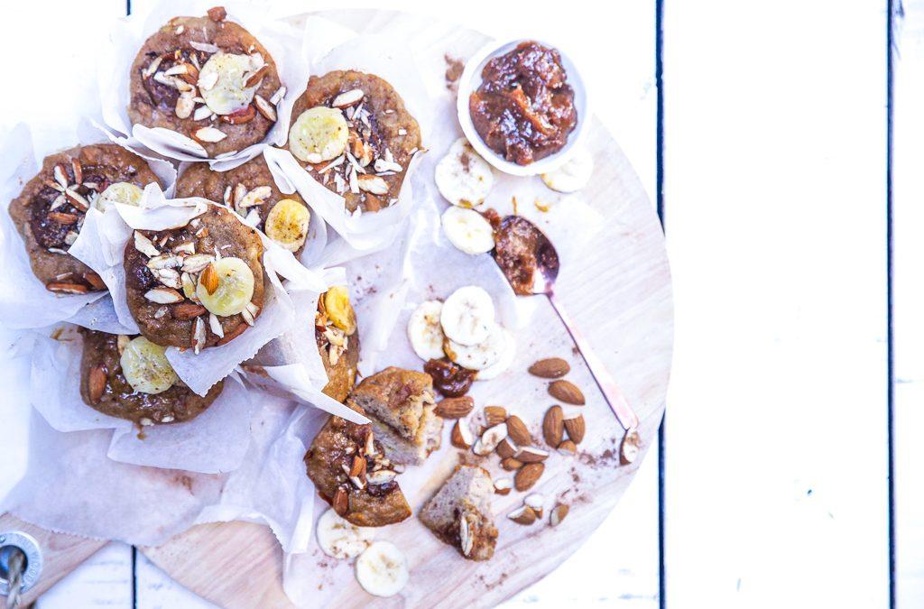 Gluten Free Miso Caramel Banana Muffins